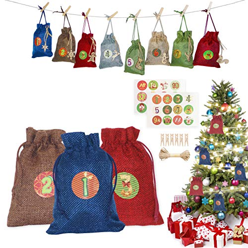 Bestier Christmas Advent Calendar 2020, 24 Days Xmas Countdown Calendar DIY Advent Calendar Set, Hanging Burlap Gift Bags, 24 Calendar Stickers and Small Wooden Sign, Christmas Decoration Supplies