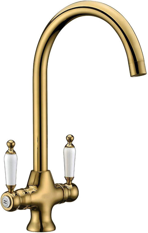 Wasserhahn Upgrade Gold Traditionelle Spüle Mischbatterie Elegante Keramik-Doppelhebel-Monoblock-Schwenkauslauf