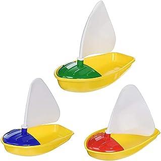 TOYANDONA 3pcs Plastic Sailboat Toys Boat Bath Pool Toys Bathtub Toys for Children Todders Kids Size S M L (Random Color)