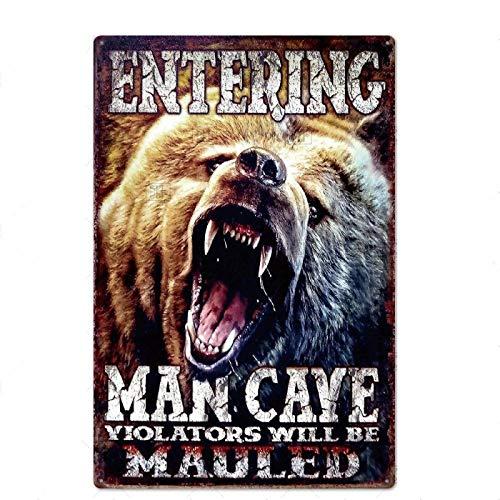 Hombre guapo Bar Letrero de metal Vintage Cartel de chapa Hombre Cave Bar Club Metal Arte de la pared Placa de decoración 20x30cm YYY154