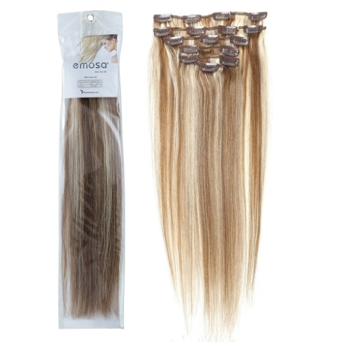 Emosa 7Pcs 70g Clip In Silky Soft Remy Real Human Hair Extensions #6/613 Brown/Blonde Silky Soft