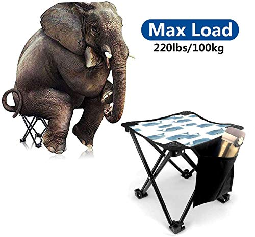 LLOOP Camping Stool Folding Whale Pod in Blue Portable Chair Camping Hunting Fishing Travel with Carry Bag