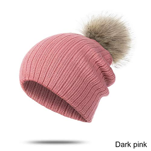 XXY Invierno Bebé Sombrero Bufanda Traje Sólido Cálido Suave Niños Sombrero De Pom para Niñas Y Niños Tejido Algodón Skullies Baby Beanie Hat (Color : Dark Pink 1)