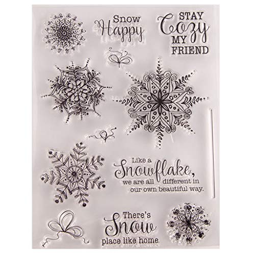 Kerstmis Seal Stamp, Kerstmis Sneeuwvlok Silicone Clear Seal Stamp DIY Scrapbooking Embossing Fotoalbum