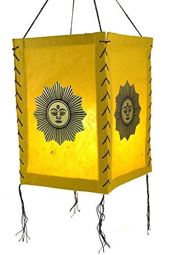 Guru-Shop Abat-jour en Papier Lokta, Plafonnier en Papier Fait Main - Jaune Soleil Porte-bonheur, PapierLokta, 35x20x20 cm, Lampes de Plafond Asiatiques Lampes en Papier Tissu