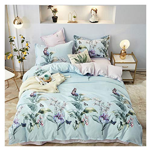 GYYY Quilt Cover Four-piece cotton brushed pure cotton thick bed sheet and duvet cover three-piece winter bedding long-staple cotton plant (Color : Color 7, Size : Flat Bed Sheet)