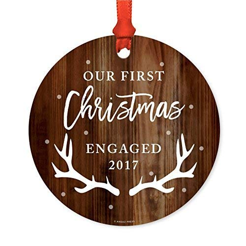 Leop345old Family Metal Christmas Ornament, Our First Christmas Engaged 2017, Rustic Wood, 1-Pack, Includes Ribbon and Gift Bag