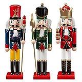 jianghui133 3PCS / Set Christmas Nutcracker, Soldier Nutcracker Wooden Christmas, 30cm Puppet Nutcracker King Soldier, para la Sala de decoración de Adornos navideños