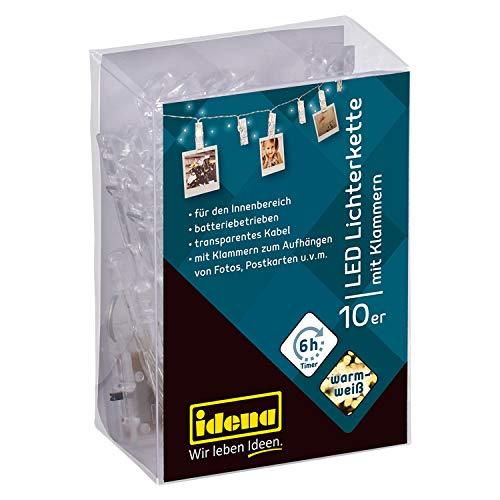 Idena 30130 - LED Lichterkette mit 10 LED, warmweiß, mit Klammern, beleuchtete Clips für Fotos, mit 6 Stunden Timer Funktion, batteriebetrieben, ca. 1,4 m lang, zum Basteln und Dekorieren