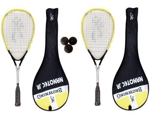 Browning 2 x Nanotec Jr Junior Raqueta De Squash + Paquete de Pelotas De Squash Dunlop