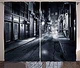 ABAKUHAUS Noche Cortinas, Oscuro Paisaje Urbano de Nueva York, Sala de Estar Dormitorio Cortinas Ventana Set de Dos Paños, 280 x 245 cm, Blanco Negro