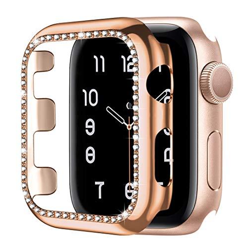 Upeak Compatibile con Apple Watch 1/2/3 38mm Custodia Protettiva con Diamante, Cornice per PC Lucida Bling Paraurti Bling per Donne Ragazze Smartwatch Decorazione, Oro Rosa