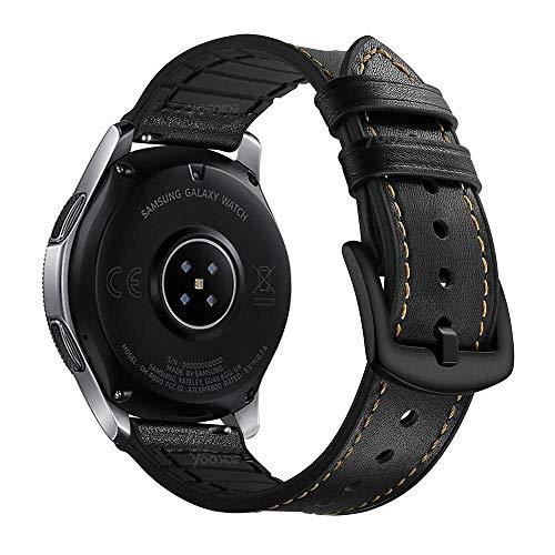YOOSIDE für Samsung Galaxy Watch3 45mm Leder Armband, 22mm Echtleder+Silikon Ersatzarmband Uhrenarmband für Samsung Galaxy Watch 46mm/Gear S3, Schwarz