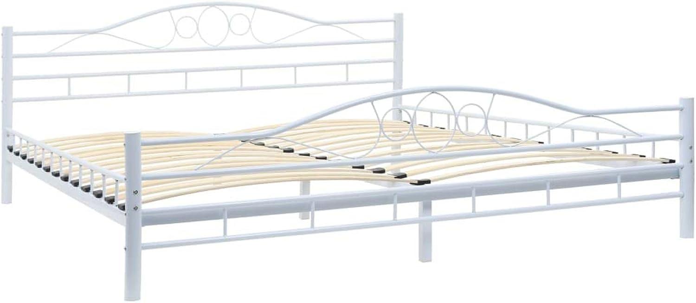 VidaXL Metal Bed Frame with Slatted Base 183x203cm Curl Design White King Size