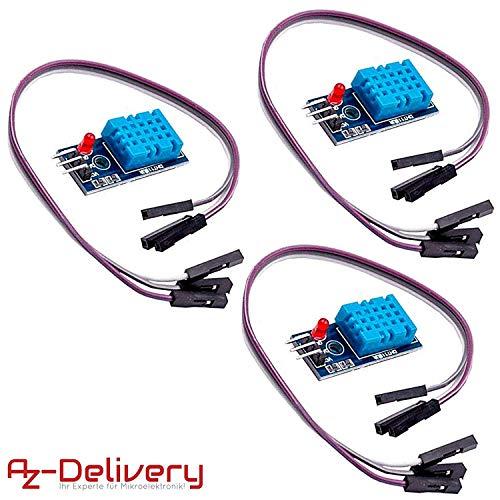 AZDelivery 3 x DHT11 Breakout Modul mit Platine und Kabel Temperatursensor und Luftfeuchtigkeitssensor für Arduino