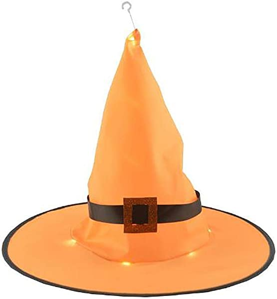 Whatyiu Halloween Decoration Outdoor 1Pcs Hanging Lighted Glowing Witch Hat Lights String Battery Operated For Outdoor Yard Tree Decorations For Cosplay Props