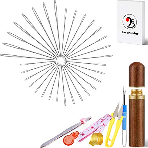 Sewing Needles in Gift Box - Premium Large Eye Embroidery Needle for Hand-Sewing Big Eye Sharp Stitching Needles with Rosewood Case for Leather Yarn Craft DIY, 32PCS, Silver (Large Eye)