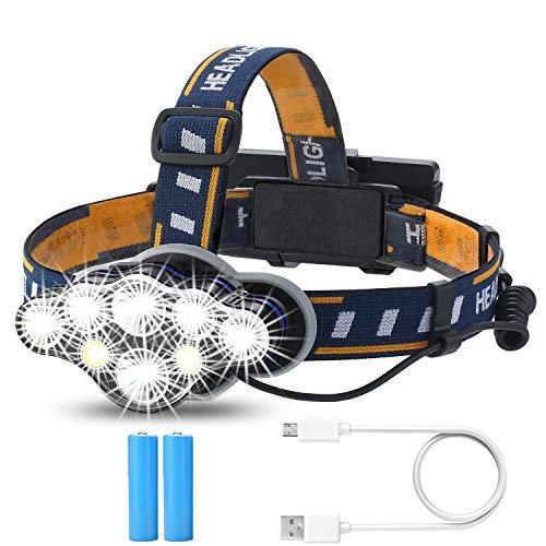 PELLOR Stirnlampe, Superheller Wasserdicht LED Kopflampe 13000 Lumen 8 Modi mit USB Wiederaufladbare COB Langstrecken Scheinwerfer für Camping, Radfahren Laufen Nacht Angeln Jagd Lesen Autoreparatur