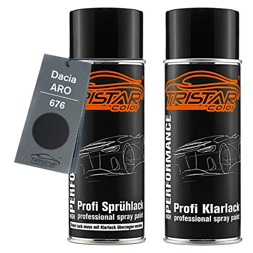 TRISTARcolor Autolack Spraydosen Set für ARO/Dacia 676 Noir Metallic/Perlmutt Schwarz Metallic Basislack Klarlack Sprühdose 400ml