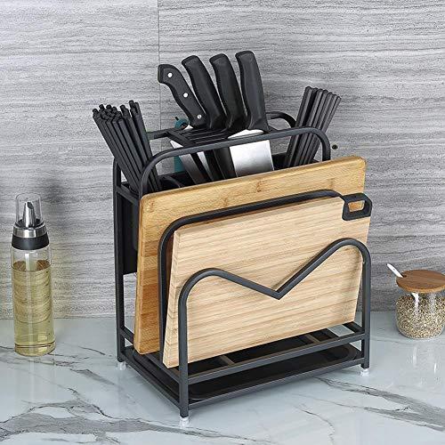 cineman Keukenrek, snijplank, roestvrij staal, keukengerei, opbergrek, snijplankhouder met haken voor stokjes, messen, hakken