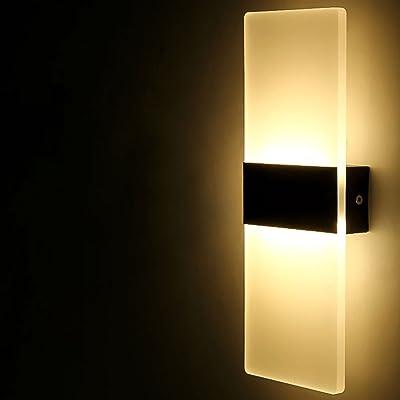 zcyg Applique Murale LED Mur Lampe Acrylique Night Light Intérieur pour Chambre d'enfants Chambre Corridor Décoration Noir