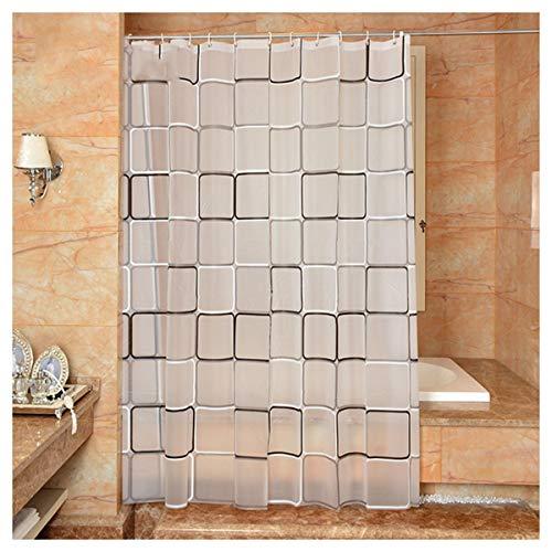 Duschvorhang Durchsichtig für Badewanne, Duschvorhänge mit Einfach Motiv Anti-Schimmel Wasserdichter Duschgardine Weiß Duschvorhang Aufhängung 180×220 cm