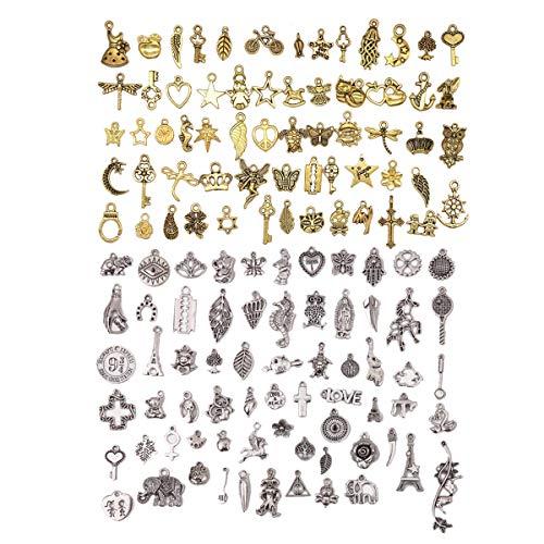 Colgante de Estilo Antiguo Mixto,JEANGO 200 PCS Bisutería Dijes Antiguo de Oro y Plata DIY para Collar Pulsera Joyería Pendientes