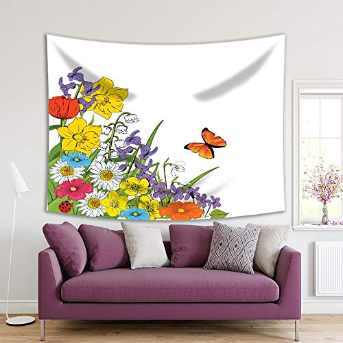 Henge Home Flowers Printed Tapestry/Tapestry for Home Living Room Bedroom Dorm Decoration Durable Wall Hanging - Daisies Ladybug Butter
