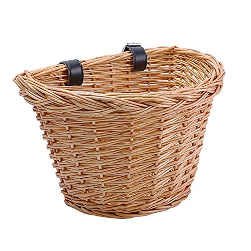 LACHUMU Carrito de jardín para niños, cesta de ratán con mango de mimbre tejido a mano, bolsa delantera para niños, para montar en bicicleta, carros de jardín y carros (color 30 x 23 x 22 cm)