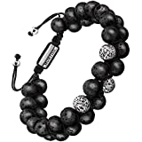 murtoo Bracelet en Pierre Naturelle pour Les Hommes, Braceletréglable de perlesavec Huile Essentielle Yoga comme Diffuser...