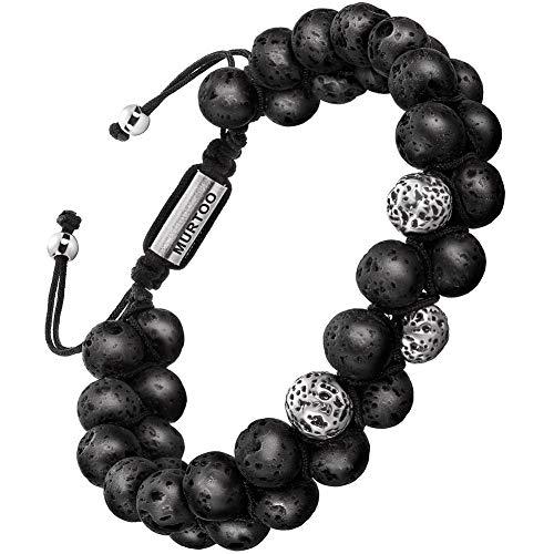 Armband Männer Perlenarmband Stein Armband aus Lava Rock mit einstellbar Verschluss Parfum Diffusor,7''-9'' Perfektes Geschenk (große perlen neu)
