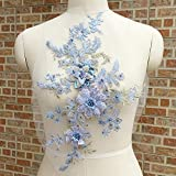 Apliques de encaje de flores 3D bordadas con cuentas de encaje de novia y perlas...