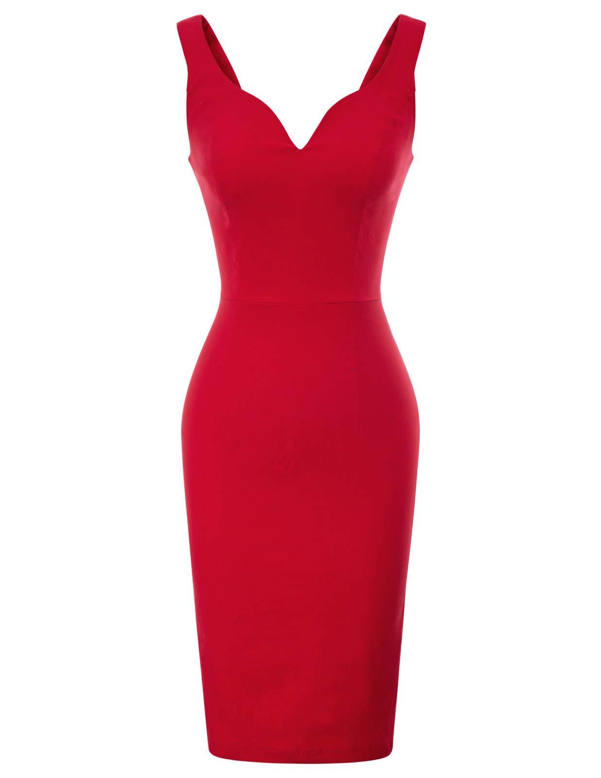 Red Dress - Boatneck Sleeveless Vintage Tea Dress With Belt