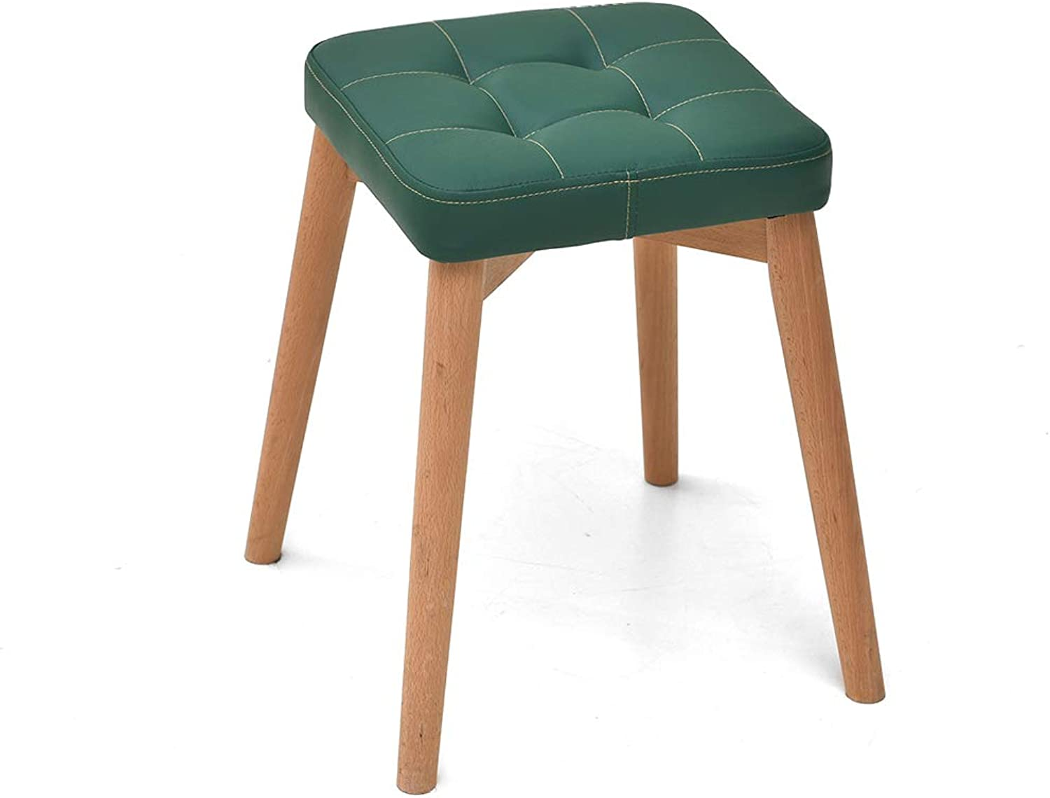 CXQ Fashion Creative Stool Solid Wood Dining Stool Dressing Stool Home Bench Dark Green Square Stool