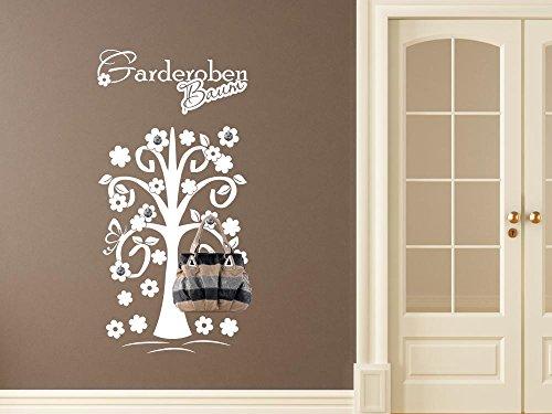 GRAZDesign Wandtattoo Garderobe inkl. 5 Wandhaken für Flur Spruch Garderoben Baum Blumen (91x45cm / 080 Braun/Haken 5Stück)