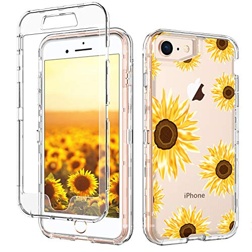 GUAGUA iPhone SE 2020 Case iPhone 8 Case iPhone 7 Case 4.7-inch Clear Sunflower Flower 3 in 1 Hybrid Hard PC Soft TPU Transparent Cover Shockproof Protective Case for iPhone 8/7/SE 2020 Yellow