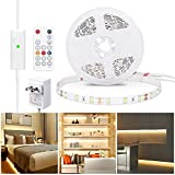 WOBANE Warm White LED Strip, Dimmable LED Light Strips with RF Remote and ETL Listed Adapter, 16.4ft Flexible Tape Lights for Kitchen,Under Cabinet,Bedroom, 3000K,300 LEDs Rope Light