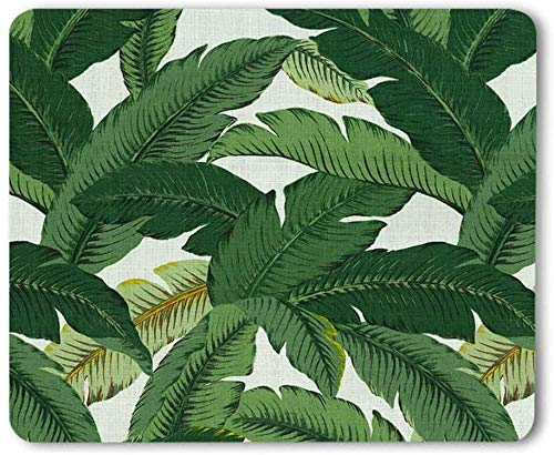 CUKENG Leaf Mousepad Mat Beautiful Design Leaves Green with White Background Rectangle Mouse pad Green Tropical Palm & Fern Leaves Mouse Pad, Tropical Palm Leaves Mouse pad for Office