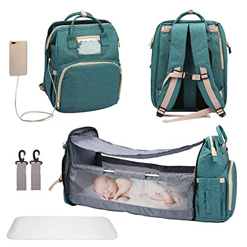 3 in 1 Diaper Bag Backpack with Changing Station,Foldable Baby Bed Waterproof,USB Charging Port, Baby Bag Portable Crib,Multifunction Travel Mummy Bag