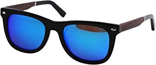 LUKEEXIN Patterned Square Shape Men's Polarized Sunglasses Acetate Fibre and Wood Frame TAC Lens UV Protection Driving Fishing Beach Outdoor Sunglasses (Color : Blue)