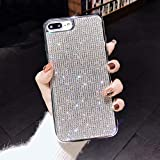 Hosgor Sparkly Bling Glitter iPhone 8 Plus Case for Women,Luxury Jewellery Crystal Diamond Soft Cover,Flexible Durable TPU Plating Shockproof Slim Case for Apple iPhone 7 Plus