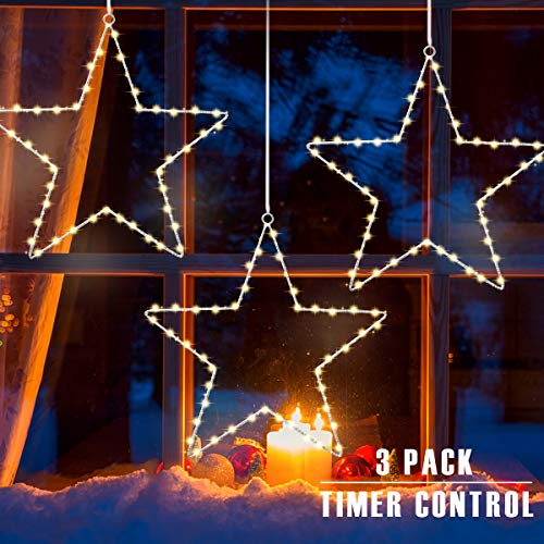 GIGALUMI Christmas Window Star Lights 3 Pack Window Lights with Timer Battery Operated Christmas Decorations 8 Lighting Modes with 3 Remote Controls for Outdoor, Indoor, Porch, Party(Warm White)