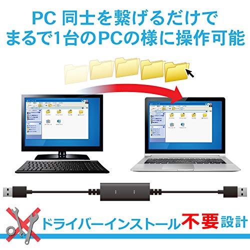 『エレコム データ移行ケーブル [ Windows Mac対応 ] USB2.0 Type-Cアダプタ付属 1.5m ブラック UC-TV5XBK』の1枚目の画像
