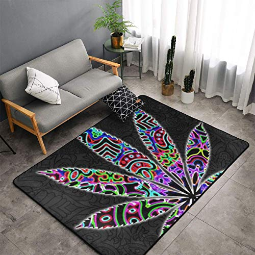 Luxury Modern Classic Thick Soft Carpet Multi Color Trippy Marijuana Leaf Weed Area Rug for Living Room Bedroom Playroom Dormitory Home Decor Non-Slip Carpet Large Floor Mat (Size 5 X 3 Feet)