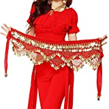 Wuchieal Women's Sweet Bellydance Hip Scarf with Gold Coins Skirts Wrap Noisy Red