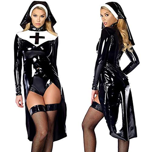 WONDER BEAUTY Donna Costume da Suora in Pelle 3 Pezzi Wetlook Sexy Cosplay Costume di Halloween Noir XL