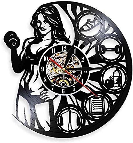 jjyyy Reloj de Pared de Vinilo para Levantamiento de Pesas de Fitness para Mujer, Reloj de Pared para Mujer, Reloj de Pared para Culturismo Muscular, Regalos para Mujer