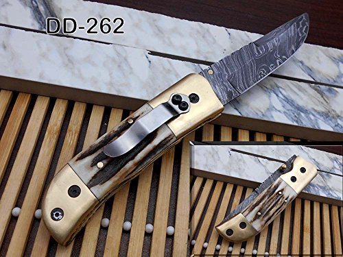 Natural Stag Antler Scale Damascus Steel Folding Knife,Solid Brass Bolster, Comes with Leather Sheath