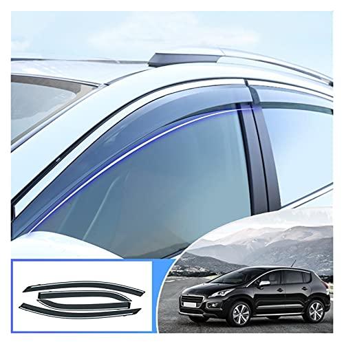 Deflectores de Viento Ventana Clima Escudo Deflector Guardia Accesorios Sol Lluvia Visera Toldos para Peugeot 3008 2013-2019 Cortavientos para ventanilla