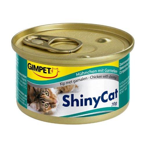 Gimpet ShinyCat Hühnchen mit Garnelen 24x 70g Katzenfutter nass sehr bekömmlich